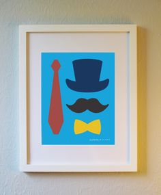 Cute Art Print - Dapper Little Man - 5x7, 8x10, or 11x14. Cute nursery poster. Kids room art print with mustache, top hat, bow tie, and tie. by evincedesign on Etsy https://www.etsy.com/listing/199737233/cute-art-print-dapper-little-man-5x7
