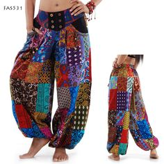 Harem & Belly Dance Pants, Jinny Pants, Hippie Pants, Patchwork, Thailand Pants  - FAS531