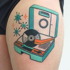 Kelly came by the studio for a lil touch up on her HEALED vintage kids record player. Thanks Kelly! Beatles Tattoos, Music Tattoos, Body Art Tattoos, Sleeve Tattoos, Arabic Tattoos, Tattoos For Kids, Trendy Tattoos, Tattoos For Women, Cool Tattoos