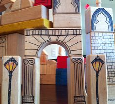 Architectural Building Blocks: Take some plain but wonderful wood blocks and add architectural details with permanent markers. The kids joined me in adding decoration and it has brought new play value to our worn out blocks! Projects For Kids, Diy For Kids, Crafts For Kids, Craft Projects, Diy Cadeau Noel, Wooden Blocks, Wood Toys, Diy Toys, Handmade Toys