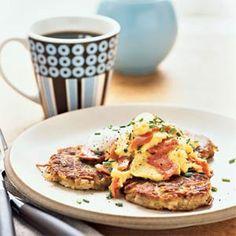 Salmon Scrambled Eggs Over Asiago Potato Pancakes You'll rest easy ...