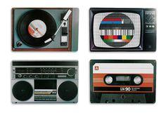Placemat set nostalgia hifi equipment Retro Style: Amazon.co.uk: Kitchen & Home