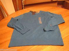 Men's Tommy Hilfiger long sleeve sweater shirt lux cotton medium M blue 420 NEW