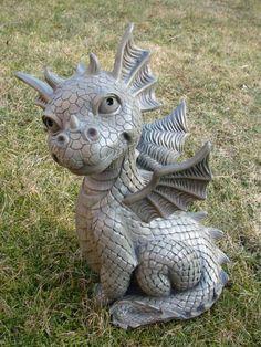 Gartendrache sitzend Drache Figur Gargoyle