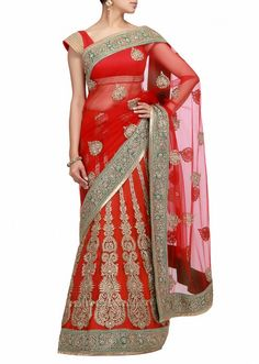 A red  lehenga saree with kundan work by Barcode 91 Exclusive