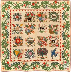 Baltimore Album quilt, 1850, made by Josiah Goodman.