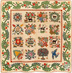 Baltimore Album quilt, 1850, made by Josiah Goodman.