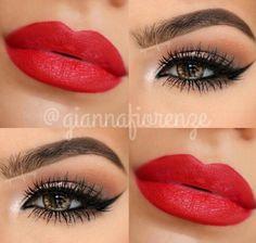 Neutral eye red lips