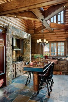 Log Homes and Cabins. View photos of gorgeous log home interiors as a source of design inspiration. Log home kitchens, bedrooms and great rooms. Log Cabin Living, Log Cabin Homes, Log Cabins, Log Cabin Kitchens, Rustic Kitchens, Home Interior, Interior Design, Kitchen Interior, Cabins And Cottages
