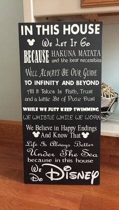 In This House Disney Sign Disney Wood Sign by MrsKoleCreations Disney Home Decor, Disney Crafts, Disney Decorations, Disney Sign, Disney Disney, Disney Ideas, Disney Movies, Disney Characters, Disney Rooms