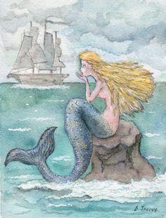 ORIGINAL WATERCOLOR PAINTING MERMAID BLUE SEA OCEAN SHIP DARK ART BILIANA #Realism