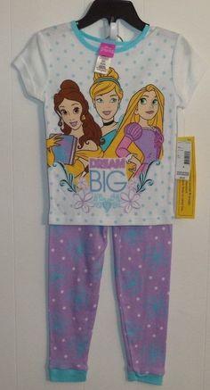 Disney Princess 2 Piece Pajama Set with Purple Bottoms Girl s Size 4   Disney  PajamaSet 079ba21d0