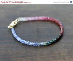 ON SALE Ruby Sapphire Tanzanite Gemstone Bracelet by EleriaJewelry, $79.20