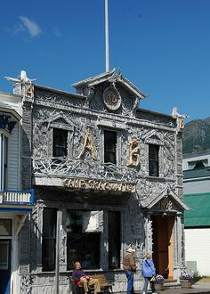 The most photographed building in Alaska. This is in Skagway, and is covered in 7,000 pieces of driftwood.