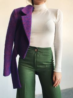 Trendlistr - Inspired by Vintage, Led by Trends Purple Outfits, Cool Outfits, Casual Outfits, Fashion Outfits, Love Fashion, Retro Fashion, Vintage Fashion, Womens Fashion, Biker Jacket Outfit