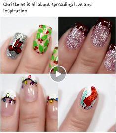 Xmas Nail Art, Xmas Nails, Beauty, Beleza, Cosmetology, Santa Hat Nails, Christmas Nails