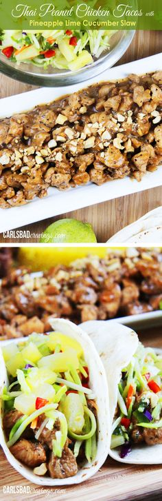 FAV. TACOS! Thai Peanut Chicken Tacos with Pineapple Lime Cucumber Slaw - your favorite peanut chicken topped with refreshing sweet, citrusy, crunchy slaw.| Carlsbad Cravings