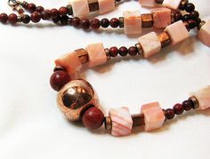 Coral and copper necklace Bold beads Red sponge by ShopPretties,  This shop has some of the most georgous jewelry!