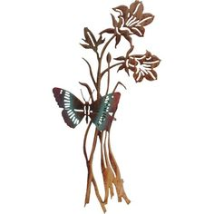 3D Butterfly And Flowers Color Wash Steel Wall Art Lazart Production Wall Sculpture Wall D