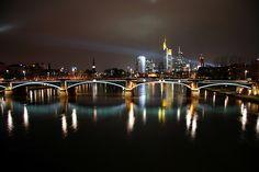 Night time skyline of Frankfurt #Germany