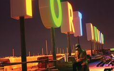 A lighted sign made of Perspex Opal (known as Lucite in the US) illuminates a UK shopping center. Created by sign makers ASG.