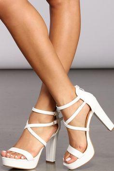 Women High Heels High Heels For Wedding Party Ladies Loafers Ladies Sandals Uk Women High Heels Strappy Platform Heels, Ankle Strap Heels, Heeled Sandals, Ankle Straps, Ankle Boots, White High Heels, White Strappy Heels, Bridal Heels, Prom Heels