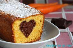 Cocidito de mi vida: Bizcocho de zanahoria con corazón de chocolate