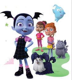 Vampirina, Her Friends Poppy and Bridget, Demi The Ghost and Gregoria The Gargoyle and Her Dog, Wolfie - on on and Disney Jr, Disney Junior, 4th Birthday Parties, Birthday Party Decorations, 5th Birthday, Party Themes, Party Ideas, Vampire Theme Party, Muppet Babies