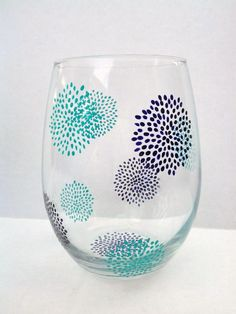 Hand Painted Stemless Wine Glasses by TheScarletLine on Etsy, $40.00