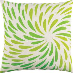 Go Green: Designed by Emma Gardner for @suryasocial, the Eye of the Storm pillow mimics the swirling pattern of a hurricane in two shades of green on white ($78 to $116). C-400