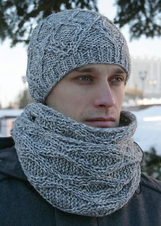 Free Knitting Pattern for Rhombus Hat and Scarf Set – Matching unisex beanie and scarf with cables. Scarf can be joined to form a cowl. Designed by Nadya Kalakina. Mens Scarf Knitting Pattern, Free Knitting, Knit Crochet, Crochet Hats, Cable Knit Hat, Hat And Scarf Sets, How To Purl Knit, Knitted Hats, Crocheting