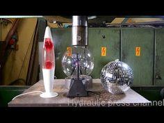 Crushing lava lamp and plasma lamp with hydraulic press