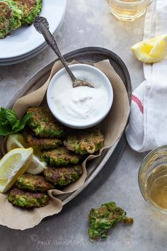 Pea, Mint and Feta Fritters with Yogurt Mint Dipping Sauce via Gourmande in the Kitchen #glutenfree #recipe