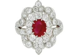 Antique Burmese ruby and diamond ring, circa 1900.