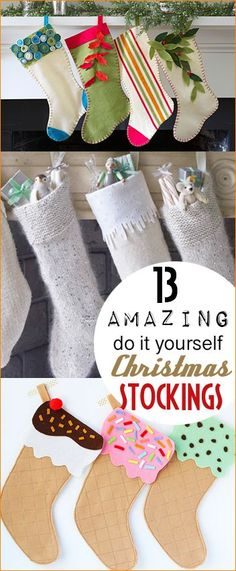 Amazing DIY Christmas Stockings with Flare. Fun homemade stockings to celebrate the holidays. Ice cream, sweater and felt stockings that the whole family will love.