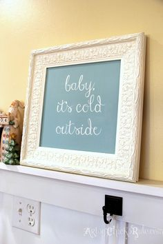 Baby It's Cold Outside - DIY - Thrift Store Frame to Holiday Art