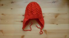 Knit - Baby Knitted Cap earflaps - ear flap - Of Wool For Girls - 0-3 months.
