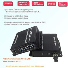 Compatible with USB 1.1 Over 1 core SM or MM Fiber 820 FT USB 2.0 Splitter 1 to 4 Supports Orientalmotor Controllers Transwan USB 2.0 hub Over Fiber Extender to Max 250 Meters to Fiber