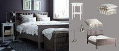 HEMNES grey-brown bed with white bedside table and BAROMETER nickel-plated work lamp