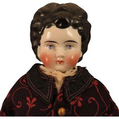 1880s German China Head Doll with Unusual Hair, 18 inch from virtu-doll on Ruby…
