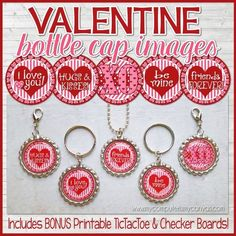 "Looking for a fun Valentine's Day craft activity, CLASSROOM PARTY GAME, gift, favor or candy free option? These 1"" round images are perfect for making inexpensive necklaces, key chains, zipper pulls, magnets & more. A completed pennant also makes a great gift or favor... but these images can also be used for card making, scrapbooking, jewelry making, various camp/activity crafts, glass or resin pennants, magnets and tons more! ★ Fun craft for the kids at a Valentine&#39..."
