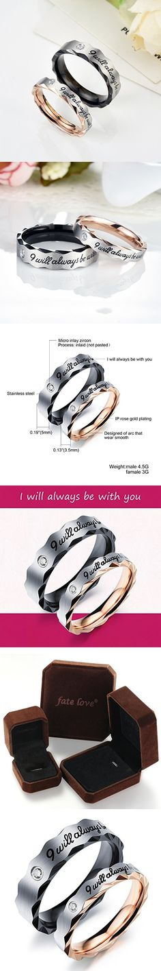 "Fate Love 2pcs Romantic ""I will always be with you"" Stainless Steel Couples Promise Engagement Wedding Ring Set A Pair for Lover"