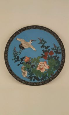Vintage Asian Cloisonne Plate Blue w White Crane Bird Chrysanthemum 9 1