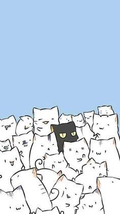 New cats illustration wallpaper gatos 42 ideas Cartoon Wallpaper, Wallpaper Gatos, Cute Cat Wallpaper, Kawaii Wallpaper, Black Wallpaper, Trendy Wallpaper, Cat Phone Wallpaper, Cat Pattern Wallpaper, Wallpaper Samsung