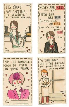 Hunger Games Valentines! i thought of the mortal instruments with the first one,weird