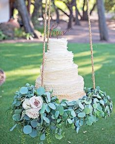 This romantic taupe ombré frilly cake is elevated to another level by suspending it from a tree at Saddlerock Ranch and decorating the base of the swing with lush greens. So fun and romantic! Just do NOT underestimate how heavy a cake this size is! Tuscan Wedding, Elegant Wedding, Boho Wedding, Perfect Wedding, Rustic Wedding, Wedding Flowers, Dream Wedding, Wedding Things, Suspended Wedding Cake