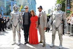 Strike a pose: Peter and Jenna posed up with Samuel Anderson and a couple of cybermen