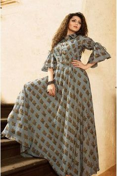for this Tailer fit designer wear Kurti Designs Party Wear, Kurta Designs, Blouse Designs, Hijab Fashion, Fashion Dresses, Indian Gowns, Mode Hijab, Indian Designer Wear, Dress Patterns