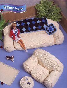 Items similar to Sitting Pretty / Barbie Living Room Furniture Annies Fashion Doll Crochet Club on Etsy Annie's Crochet, Crochet Dolls, Crochet Patterns, Barbie Et Ken, Barbie Dolls, Barbie Furniture, House Furniture, Barbie Patterns, Doll Clothes Patterns