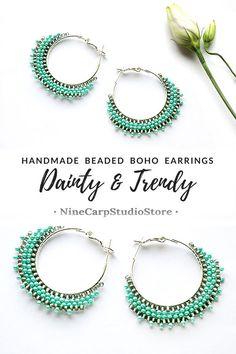 Mint Green Dainty Hoop Earrings | Hsndmade beaded jewelry from NineCarpStudioStore on Etsy #hoop #earrings #beaded #silver #boho #jewelry